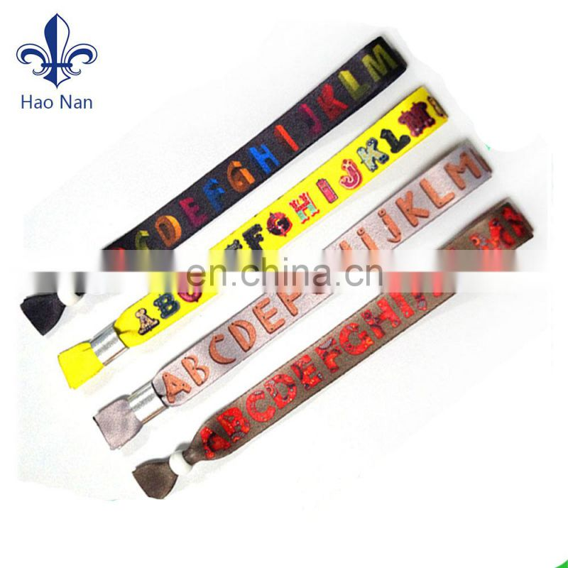 Wedding gifts for guests polyester material cheap custom cloth bracelets