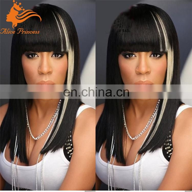 7A Remy100% Brazilian Full Lace Wig With Fringe Brazilian Short Bob Human Hair Wig With Bangs Black Highlights #613