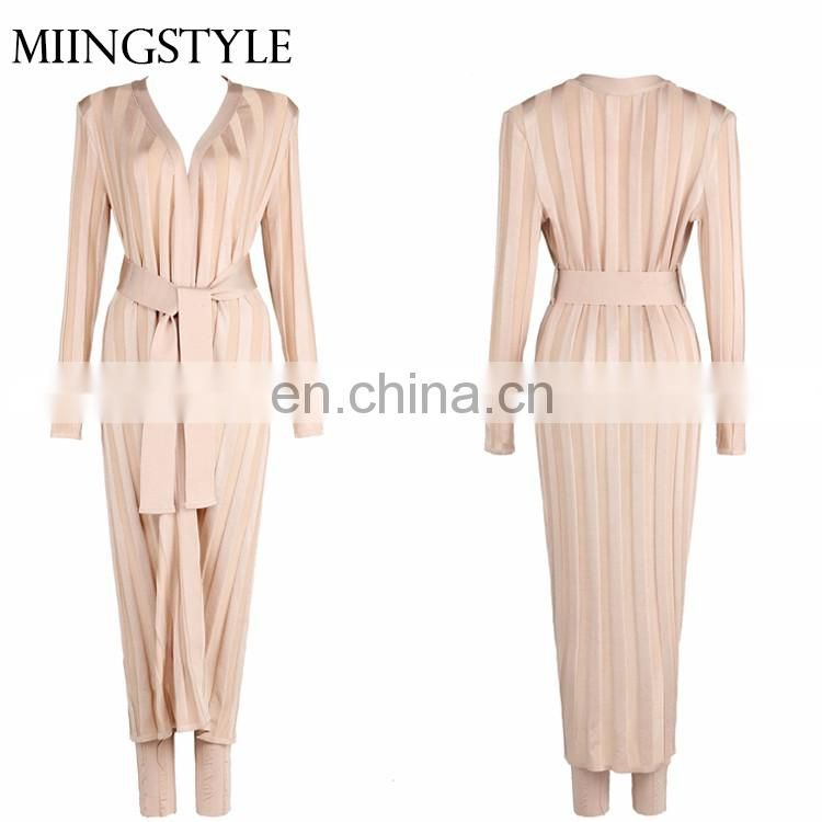 oem two piece women suit bandage pink jumpsuits women 2017