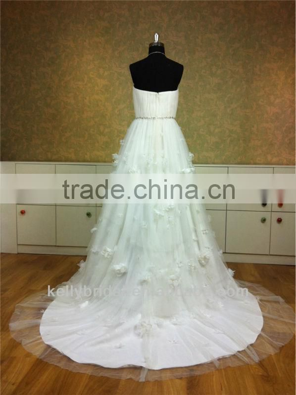 Hot sales strapless white beach wedding flower girl dresses