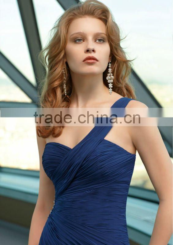 2013 long one shoulder beaded ruched dark blue custom-made mother of the bride dress CWFam4699