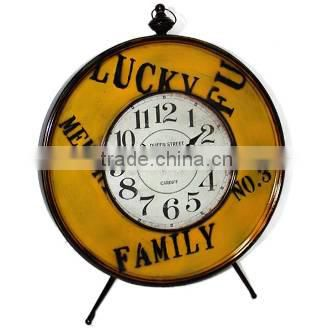 Distressed Green Alarm Metal Hotel Clock