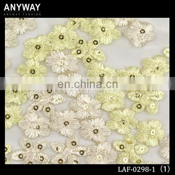 Fancy lace fabric dubai yellow lace fabric wholesale sequin lace fabric for dress