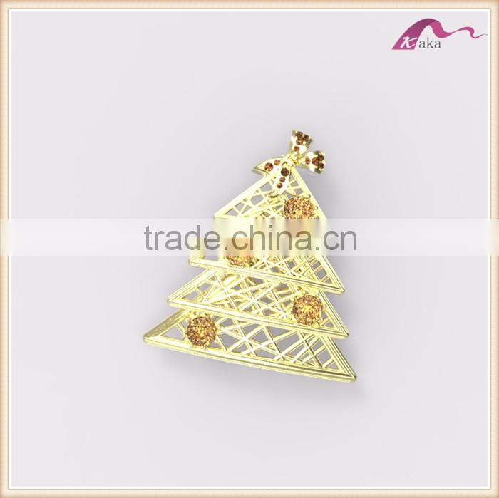 Luxury Gold Hollowed Crystal Christmas Tree Decorative Brooch For Party Jewelry
