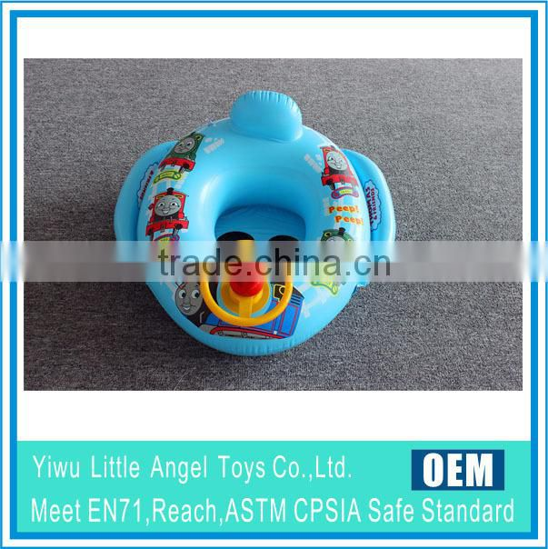 PVC inflatable baby swim ring with seat with wheel