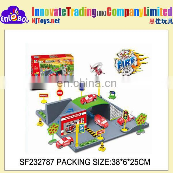 N+ FIRE PROTECTION CITY PARKING LOT WITH 1 plane & 2 fire engine.(slide)