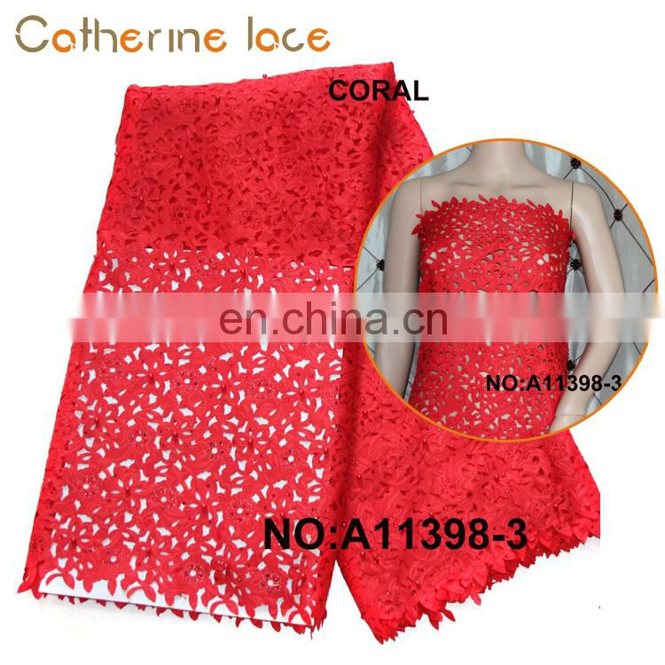 Catherine New Sample Comfortable Beads Bridal Flower Lace Fabric