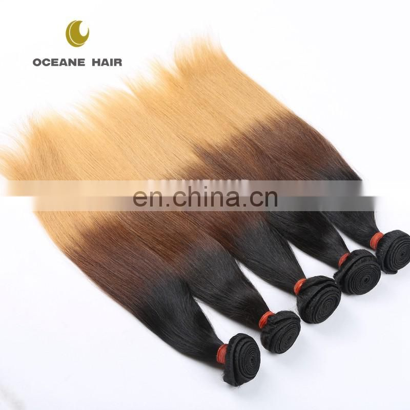 Hot sale!!!China factory double drawn weft thick soft brazilian straight hair weave bundles ombre hair extension