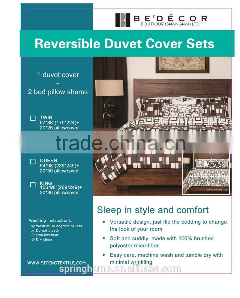 Alibaba China wholesale market 100% polyester fashion design reversible fabric textile quilt/duvet cover sets, bedding cover set