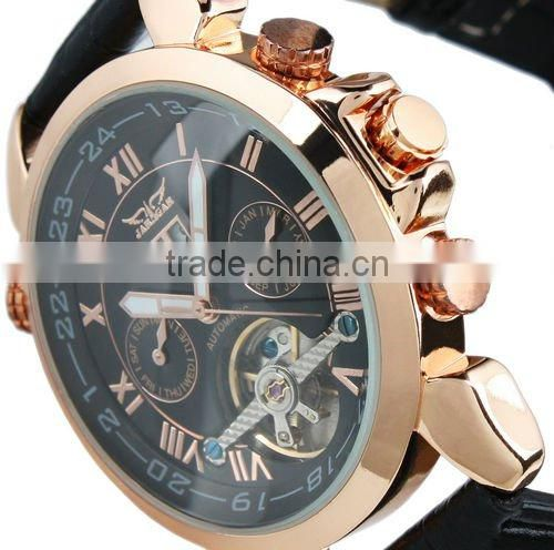 Jargar Men Black Tourbillon Rose Golden Aviator Automatic Mechanical Watch