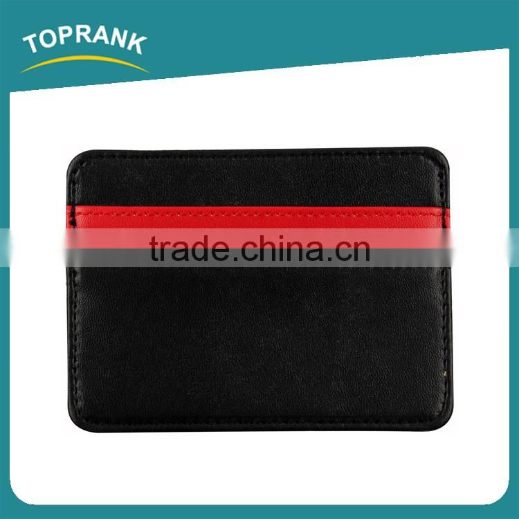 Toprank New Product Personalized Travel Pouch Wallet Slim PU Wallet Credit Card Holder With Two Pockets
