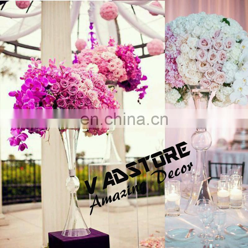 60cm headstand clear trumpet glass vase wedding table centerpiece flower holder centerpiece