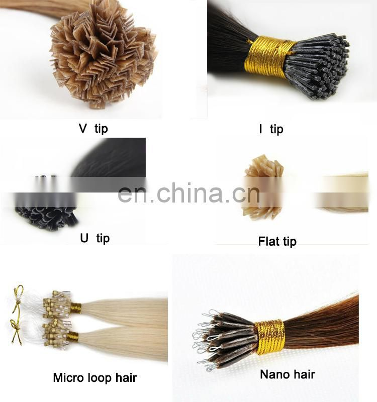 Blonde color flat tip hair extension