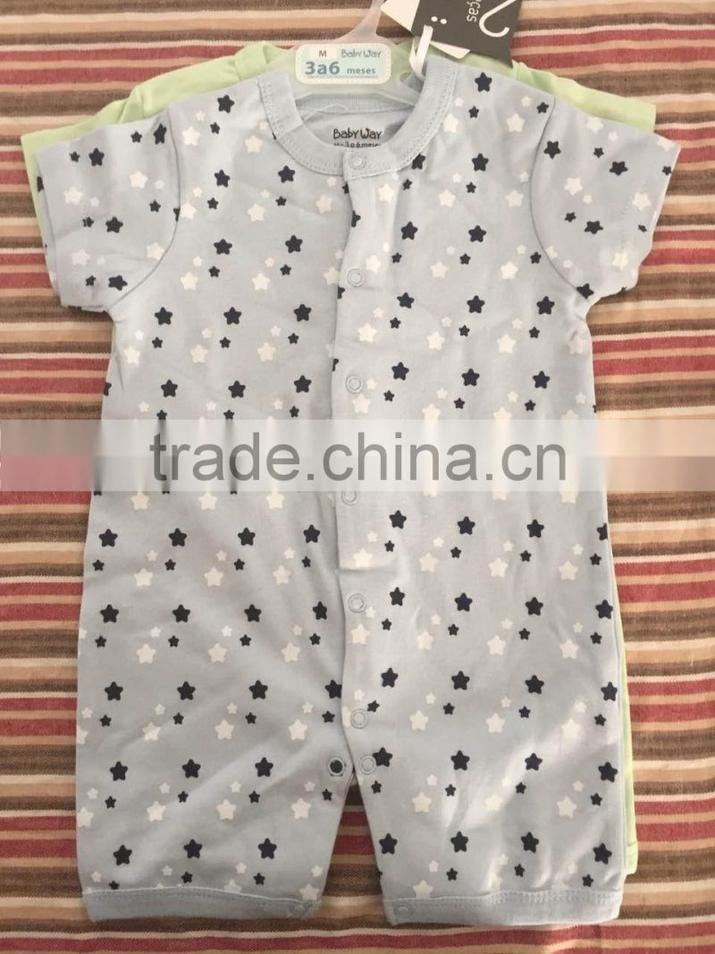 2017 JannyBB Latest Boutique Wholesale Stars Print Thick Fabric Babysuit