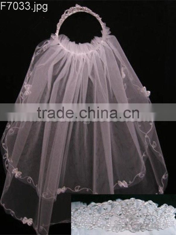 Wedding crystal glass bead and pearls crown first holy communion flower girl veil with headpiece