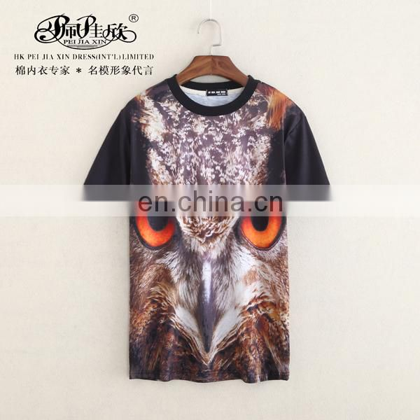 Peijiaxin Fahsion Design Casual Style Animal Eye 3D T shirt Men