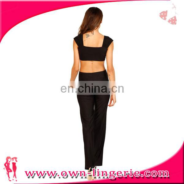 open back black sexy sleeveless wide-legged jumpsuit