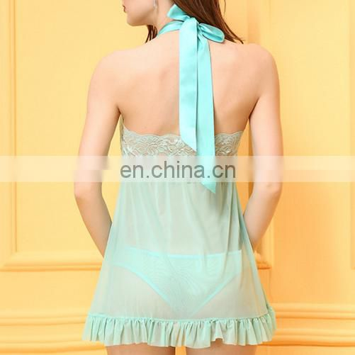 girl's lace see through halter floral strap backless sexy lingerie sexy babydoll sexy sleepwear sexy dresses