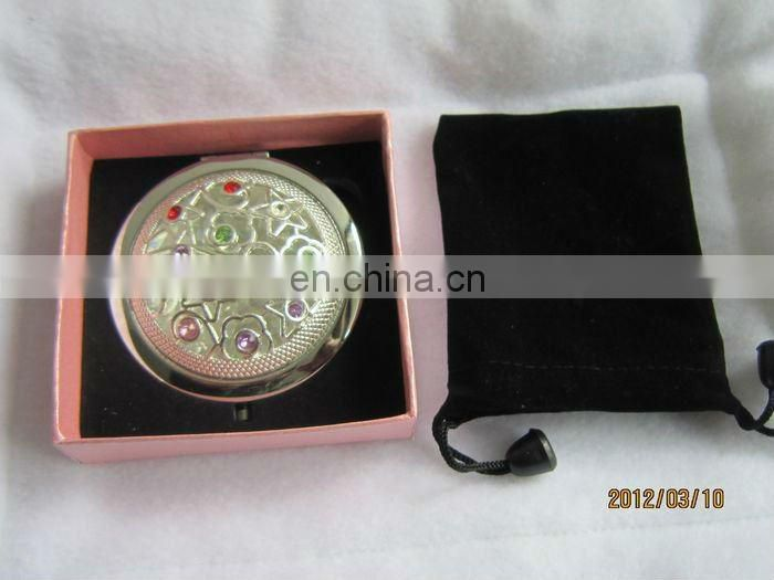 Factory selling Zinc Alloy Fashionable Bejewelled Lady Makeup Metal cosmetic mirror