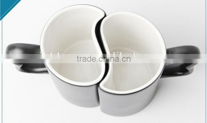 creative fashion heat transfer color changing double S style lovers ceramic coffee mug, porcelain chel klein