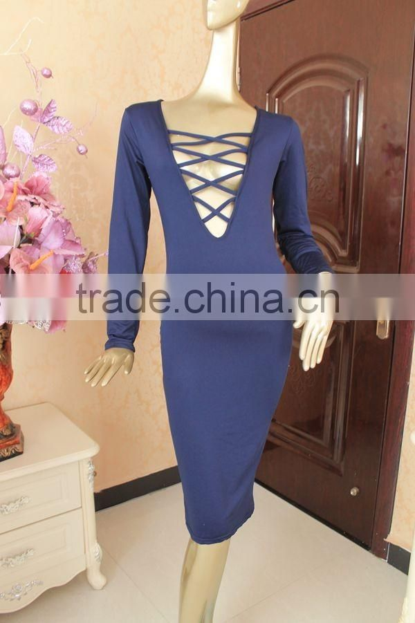Autumn Fashion Womens Bodycon Pencil Dress Ladies Bandage night Dress