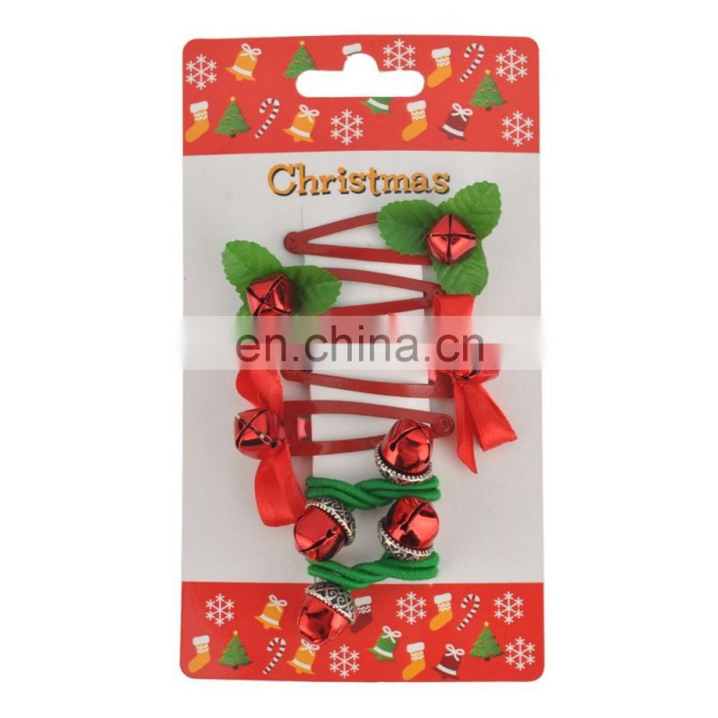 Christmas hair accessories alloy Fabric elastic hair clip set for kids