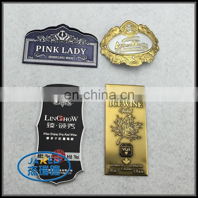 Customized metal aluminum wine brand label with UV protective layer