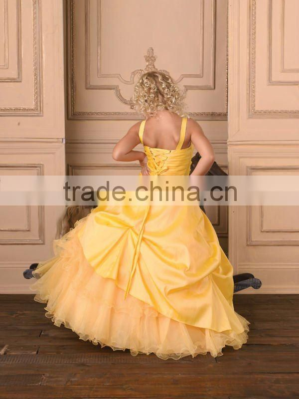 Hot sale yellow appliqued beaded ruched ruffled ball gown custom-made girls pageant dresses CWFaf4878