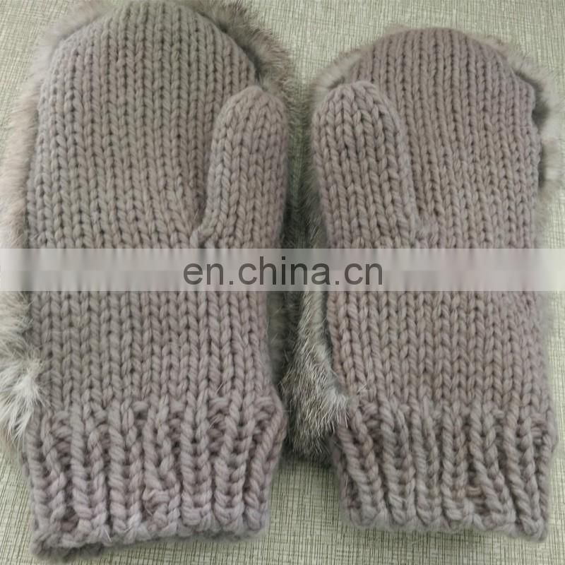 Cute knitted rabbit fur mittens high quality ladies mittens
