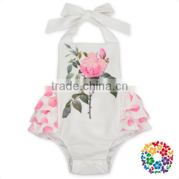 Blue White Sky Flutter Sleeve Off Shoulder Newborn Girl Bodysuit