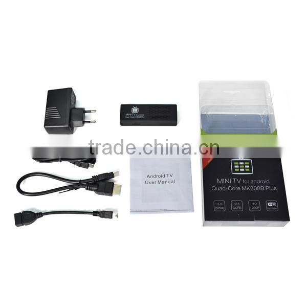Latest android mini PC, android stick, android hd smart tv dongle mk808b plus with bluetooth