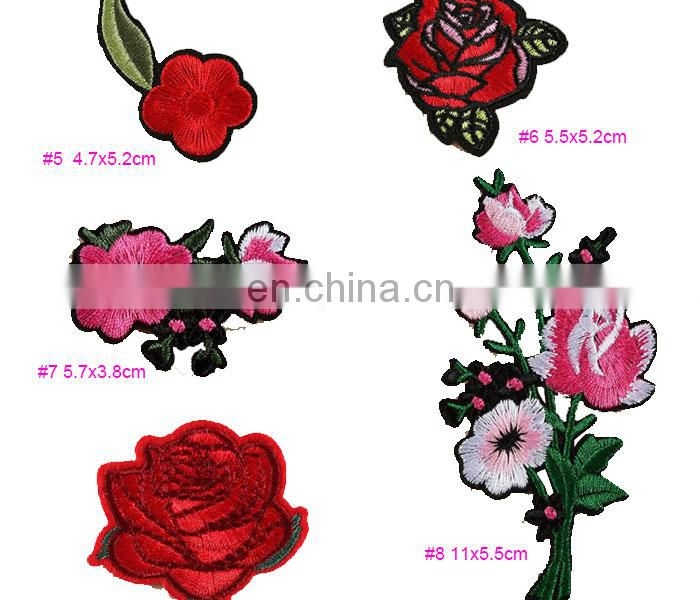 embroidery patch red flower patches embroidery for Women Clothing