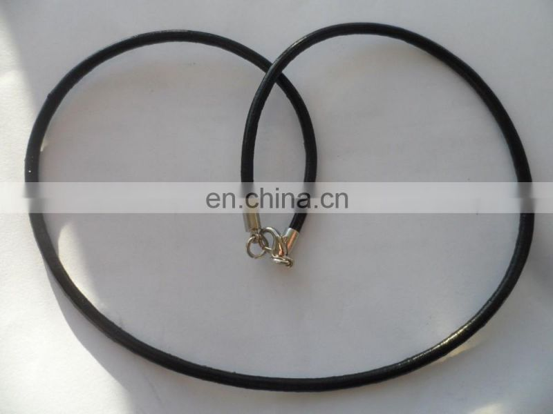 "18"" Long 3mm Thick Real Genuine Black leather Necklace Cord"