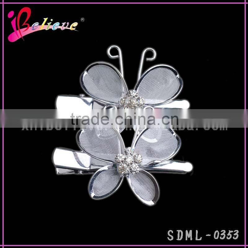 Factory direct wholesale girls hair accessories butterfly crystal hair clip,metal butterfly hair clip