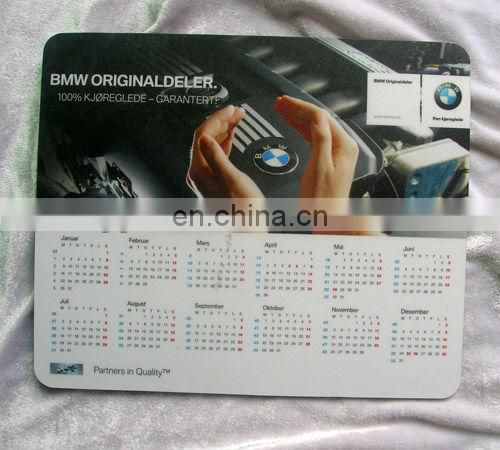 OEM calendar design printed free sample mouse pad
