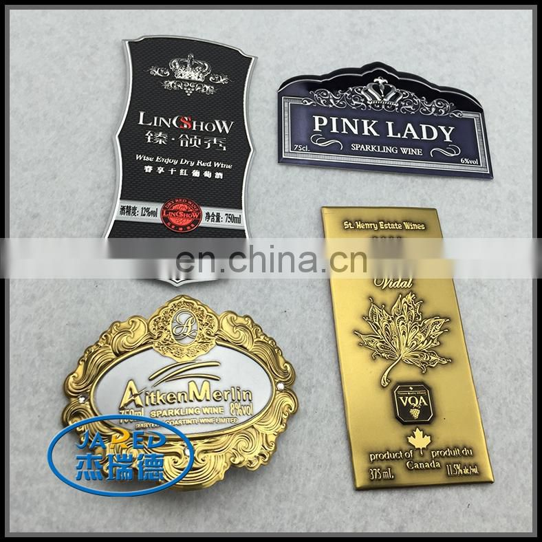 Gold Color Customized Design Metal Crafts Aluminum Wine Label with Cheap Price