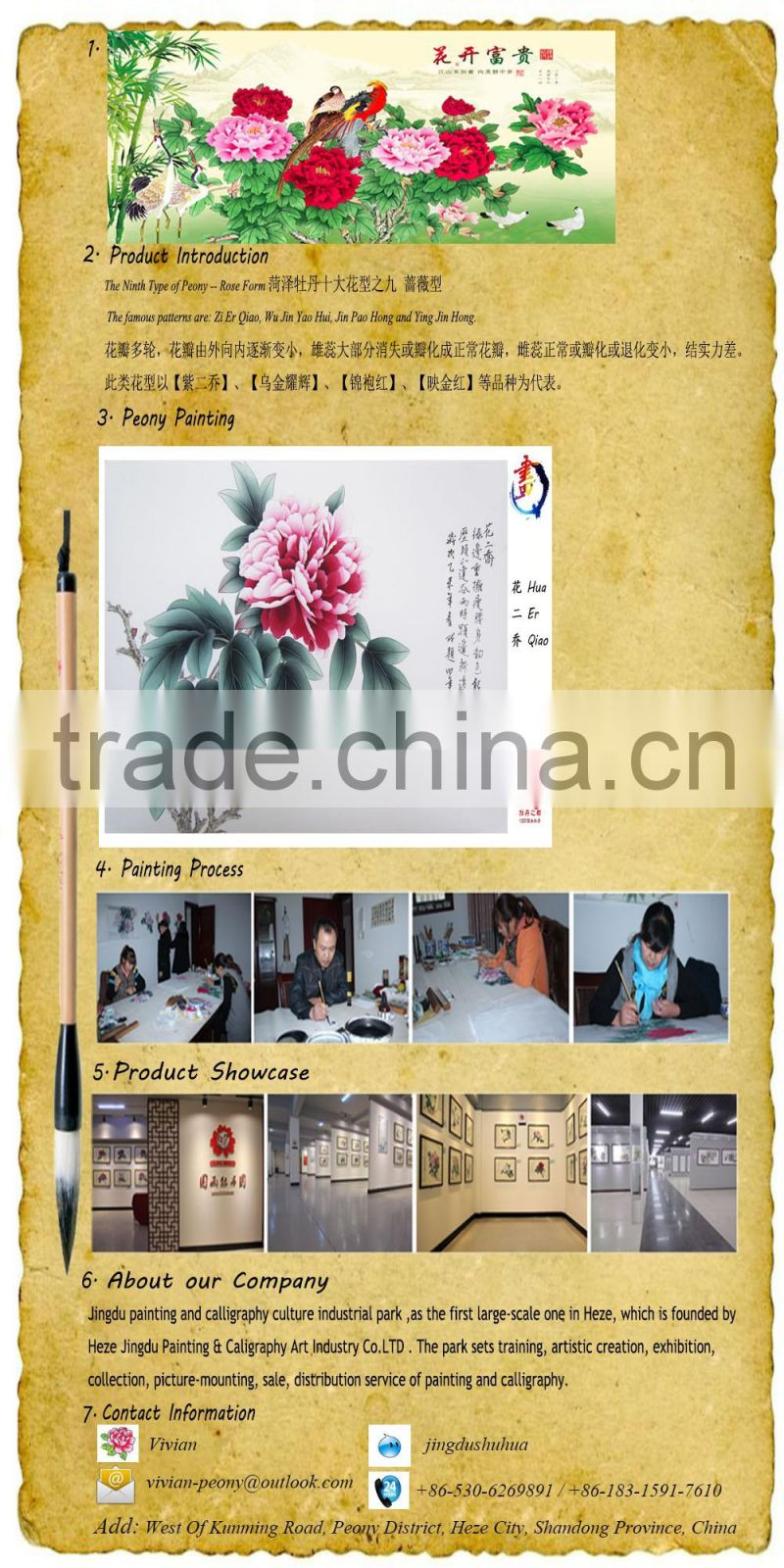 Famous China handmade painting peony flowers for home decoration