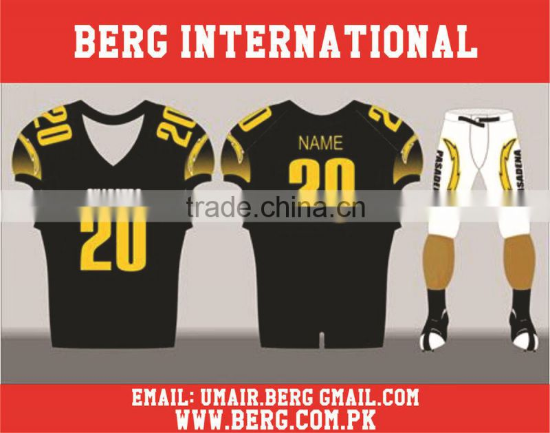 Black Color Embroidered Tackle Twilled American Football Uniforms Set