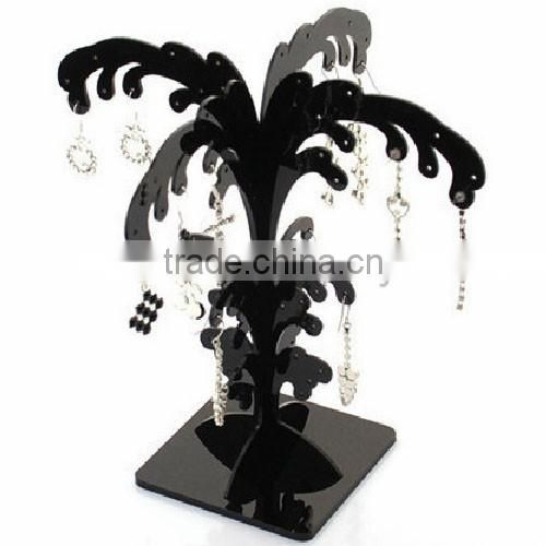 exquisite design black cubic tree shaped countertop acryic body piercing jewelry display/bracelet holder/earring display stand