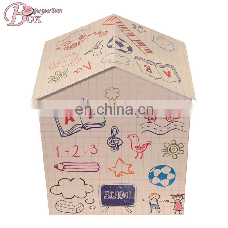 Cardboard House Shaped Drawer Clothes Office Files Storage Box