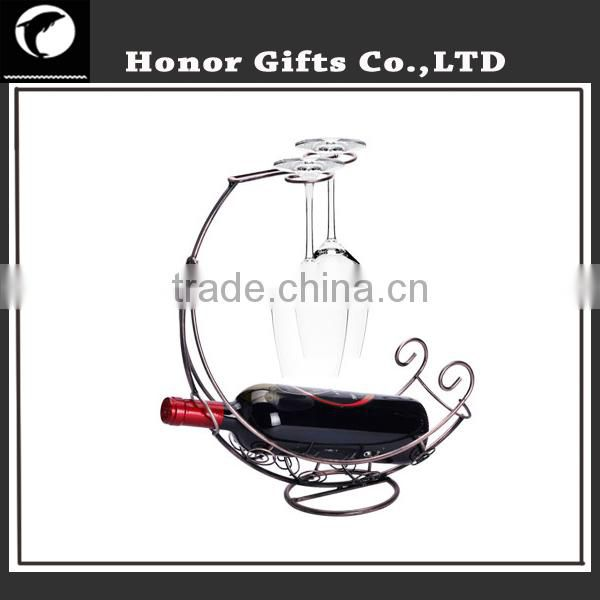 Metal Crafts Wine Bottle Holder Wine Rack with Glass Table Top