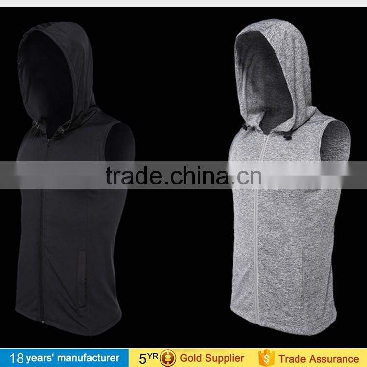 Sleeveless quick dry hooded running sweatshirts jogging basketball sports t-shirt muscle tee gym clothing for men