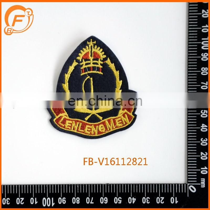 Crown Woven Patch Embroidery Gold Badge
