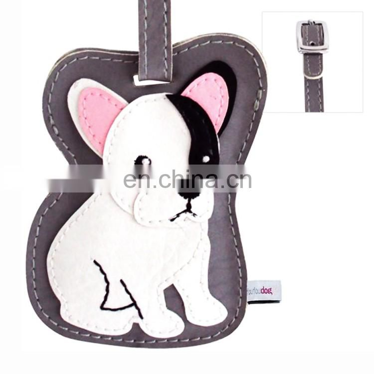 Wholease leather tag with keychain, sublimation luggage tag