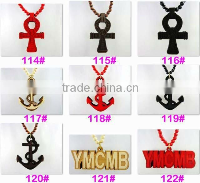 Men's Hip Hop good bamb Pendants Wood Rosary Chains Beads wooden Necklaces