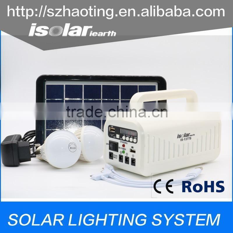 IS-1377S mini portable solar power bank with solar light bulb led