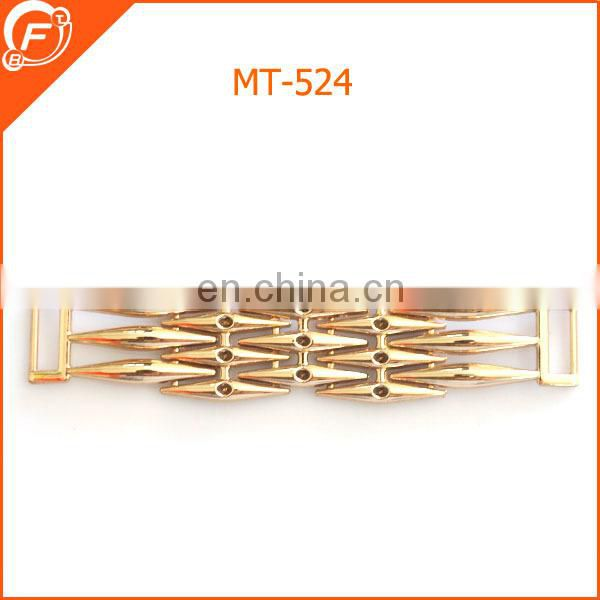 fashion circle hole gold metal bar for garment trimmings