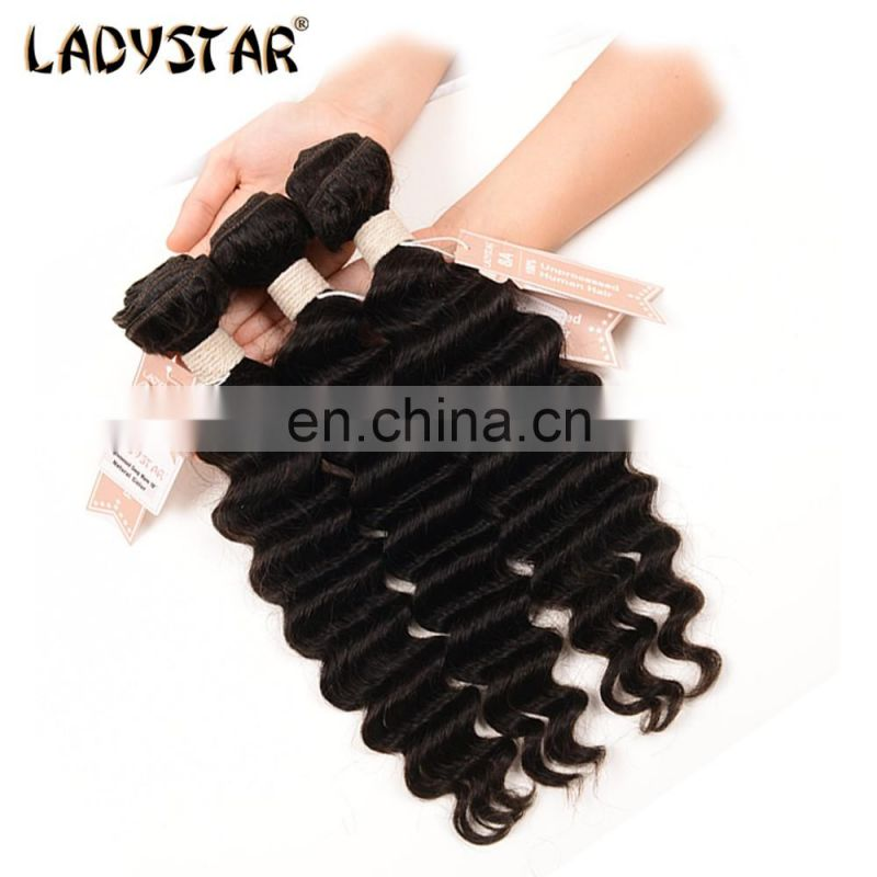 LADYSTAR Unprocessed Brazilian Premium 100%Human Hair Natural Color Deep Wave Hair Prodcuts