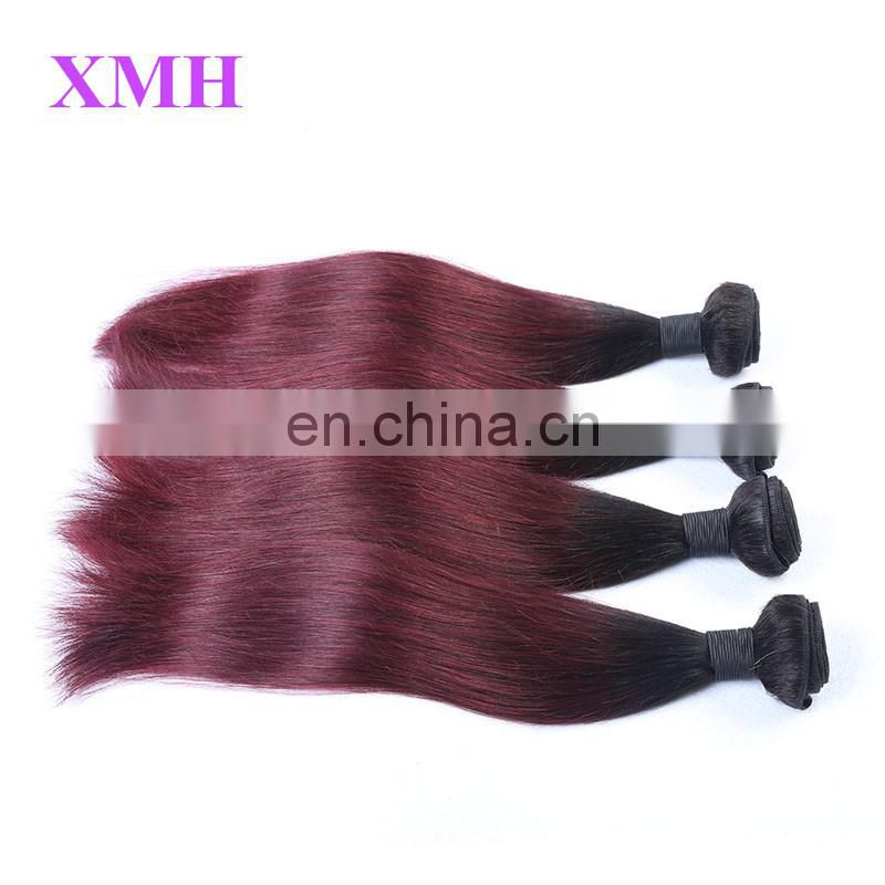 New Fashion 8A Garde Virgin Human Hair Extension Weaves Ombre Two Tone Color 99j Brazilian Straight Hair