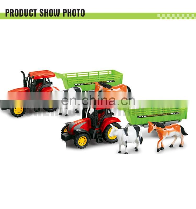 Top popular children gift plastic friction farm toy tractors with horse